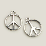 Tibetan Style Alloy Pendants, Peace Sign, Lead Free and Nickel Free and Cadmium Free, Antique Silver, 24x2mm, Hole: 2mm