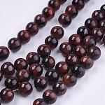 Tigre rojo piedra del ojo hebras de perlas naturales, teñido, redondo, 8mm, agujero: 1 mm; aproximamente 48 unidades / cadena, 14.9