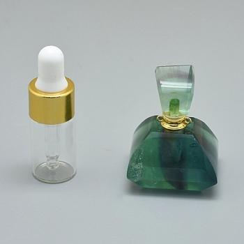 天然蛍石開閉式香水瓶ペンダント, 真鍮のパーツとガラスのエッセンシャルオイルのボトル, 40x31x28mm, 穴:1.2mm;ガラス瓶の容量:3ml(0.101液量オンス);宝石の容量:1ml(0.03液量オンス)