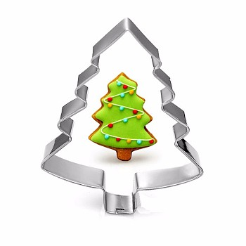 304 Stainless Steel Christmas Cookie Cutters, Cookies Moulds, DIY Biscuit Baking Tool, Christmas Tree, Stainless Steel Color, 74x57mm