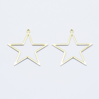 Long-Lasting Plated Brass Pendants, for DIY Jewelry Making and Crafting, Real 18K Gold Plated, Nickel Free, Star, 39.5x38.5x1mm, Hole: 2mm