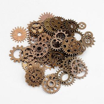 Metal Alloy Steampunk Gear Charms Connectors Cog Pendants, Lead Free & Nickel Free, Antique Bronze, 19~25x1~1.5mm, Hole: 2~14.5mm; about 256~273pcs/500g