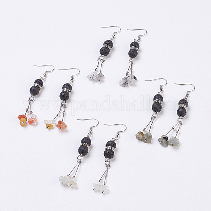 Chip Natural Mixed Stone Beads Dangle Earrings EJEW-JE02762-1