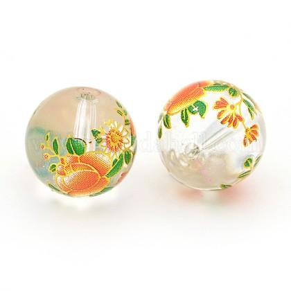 Fleur peinte verre transparent perles rondesGLAA-J084-B07-1