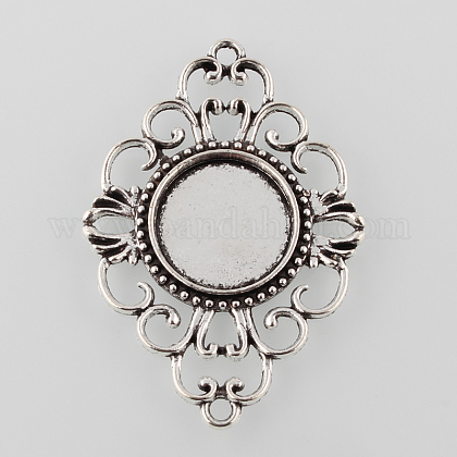 Antique Silver Tibetan Style Alloy Filigree Rhombus Cabochon Connector Settings TIBE-M022-08AS-1