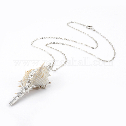 Electroplate Spiral Shell Pendant NecklacesNJEW-JN02281-03-1