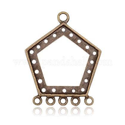 五角形チベットスタイル合金カボションコネクタのセッティングPALLOY-J589-10AB-NF-1