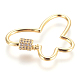 Brass Micro Pave Cubic Zirconia Screw Carabiner Lock Charms ZIRC-F105-18G-2
