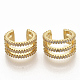 Brass Micro Pave Clear Cubic Zirconia Cuff Earrings EJEW-S208-002-2