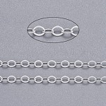 Brass Flat Oval Cable Chains, Unwelded, with Spool, Cadmium Free & Lead Free, Silver, 3.5x2.5x0.45mm, about 92m/roll