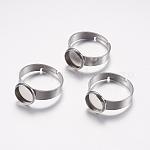 Componentes de anillos de dedo de 304 acero inoxidable ajustables, fornituras base de anillo almohadilla, plano y redondo, color acero inoxidable, Bandeja: 8 mm; talla 7, 17mm