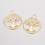Brass Filigree Pendants, Flat Round with Tree of Life, Golden, 23.5x20x0.5mm, Hole: 3mm