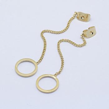 Tuercas de oreja de latón, pendiente trasero, Plateado de larga duración, real 18k chapado en oro, sin níquel, anillo, 51mm, agujero: 0.8 mm