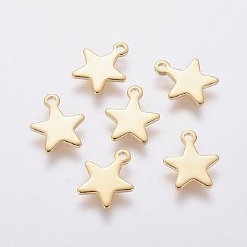 304 charms in acciaio inox, stella, oro, 10x8x0.8mm, Foro: 1 mm