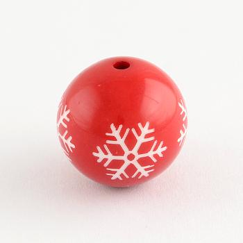 Cuentas redondas de acrílico con patrón de copo de nieve, adornos de navidad, rojo, 20mm, agujero: 2.5 mm