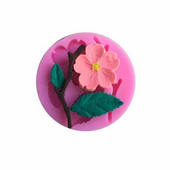 食品グレードのシリコーン型  フォンダン型  DIYケーキデコレーション用  チョコレート  キャンディ  石鹸  UVレジン&エポキシ樹脂ジュエリー作り  桃の花の枝  濃いピンク  54x7mm