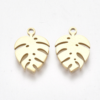 304 Stainless Steel Charms, Monstera Leaf, Golden, 13x9x1mm, Hole: 1mm