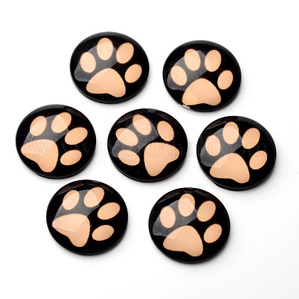 Cabuchones espalda plana de cristal luminosa cúpula / medio caña patrón huella de perro para proyectos de diyGGLA-UK0001-8mm-C04-1