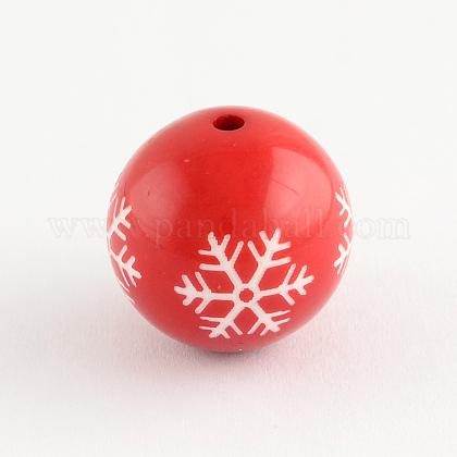 Acryic reronda copo de nieve patrón cuentasSACR-S196-20mm-07-1