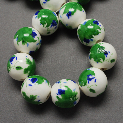 Handmade Printed Porcelain Beads, Round, Lime Green, 12mm, Hole: 2mm PORC-Q199-12mm-18