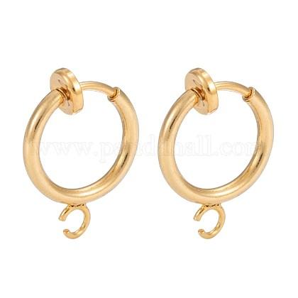 Environmental Brass Clip-on Hoop Earring FindingsX-KK-P102-01G-1