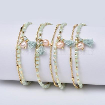 Glass Beads BraceletsBJEW-P256-C09-1