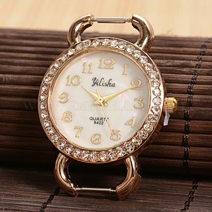 Piso reloj de cuarzo cabeza la cara del reloj de rhinestone de aleación redondos de tono doradoX-WACH-F009-07-1