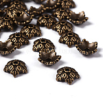 Tibetan Style Bead Caps, Lead Free & Nickel Free, 5-Petal, Flower, Antique Bronze, 10x4mm, Hole: 1mm