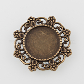 Vintage Filigree Wrap Alloy Flat Round Cabochon Settings, Nickel Free, Antique Bronze, Tray: 14.5mm; 25x27x2mm; Fit for 1mm Rhinestone