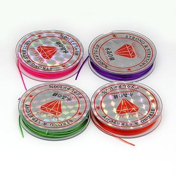 Chaîne de cristal élastique plat, Fil de cordon cordon de cristal, couleur mixte, 0.6 mm; 10 m / rouleau