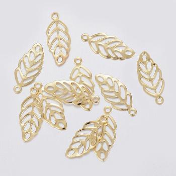 304 charms in acciaio inox, foglia, oro, 13x5.5x0.3mm, Foro: 1 mm