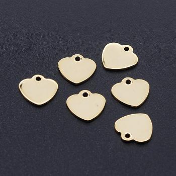 201 ciondolo in acciaio inossidabile con taglio laser, tag stampaggio vuoto, cuore, oro, 9.5x9.5x1mm, Foro: 1.2 mm