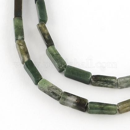 直方体天然苔瑪瑙宝石類ビーズ連売りG-R299-06-1