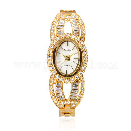 Valentines Ideas for Girlfriend High Quality Stainless Steel Rhinestone Wrist Watch WACH-A004-07G-1