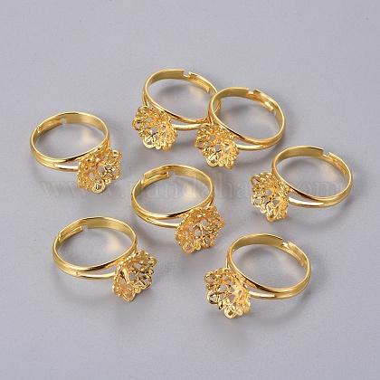 Componentes del anillo de filigrana de bronce ajustableX-KK-G116-G-1