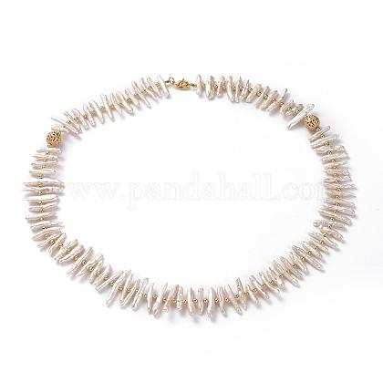 Pulseras de perlas keshi de perlas barrocas naturalesBJEW-JB04932-1
