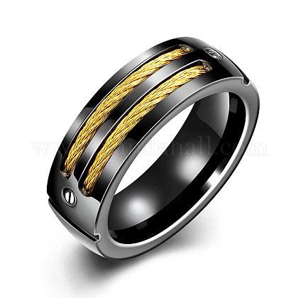 Модные 316л титана стали широкие полосы кольца для мужчинRJEW-BB07218-8-1