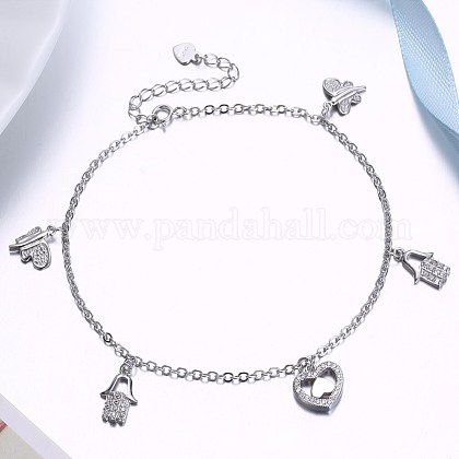 925 Sterling Silver Charm Anklets AJEW-BB31054-1