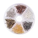 1 Box 6 Color Brass Earring Hooks, Silver & Platinum & Gunmetal & Red Copper & Antique Bronze & Golden, Nickel Free, Mixed Color, 19mm, Hole: 1.5mm; Pin: 0.7mm, about 20pcs/color, 120pcs/box