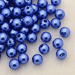Perles acryliques de perles d'imitation, teinte, ronde, bleu royal, 6x5.5mm, trou: 1.5~2 mm; environ 4500 pièces / livre