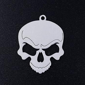 201 подвески из нержавеющей стали, для Хэллоуина, череп, цвет нержавеющей стали, 24x19x1 мм, отверстие : 1.5 мм