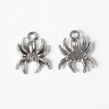 Подвески из сплава , паук, без свинца и без кадмия, античное серебро, длиной около 18 мм , шириной 14 мм , толстый 3 мм , отверстие : 2 мм