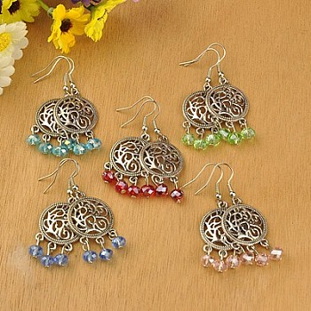 Tibetan Style Chandelier Earrings, with Glass Beads and Brass Earring Hooks, Mixed Color, 51mm