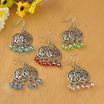 Boucles d'oreilles de lustre de style tibétain, avec des perles en verre et des crochets de boucles d'oreilles en laiton, couleur mixte, 51mm