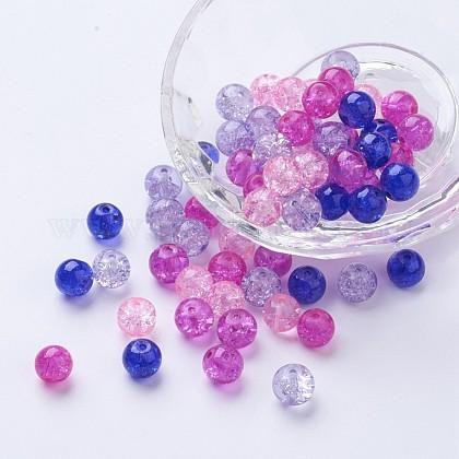 Perlas de vidrio craquelado pintadoDGLA-X0006-8mm-02-1