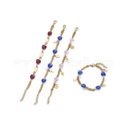 304 pulseras del encanto del acero inoxidableBJEW-F387-02G-1