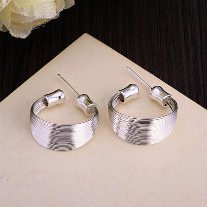 Adorable Design Ring Brass Stud Earrings EJEW-BB11918-1