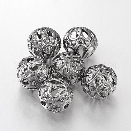 Hierro gunmetal bolas de filigrana redondaX-E064Y-B-1