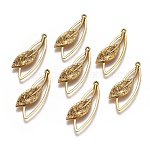 Tibetan Style Alloy Pendants, Lead Free & Nickel Free & Cadmium Free, Leaf, Antique Golden, 40mm long, 16mm wide, 4.5mm thick, hole: 1.5mm