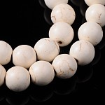 Synthetic Howlite Beads Strands, White, Round, about 16